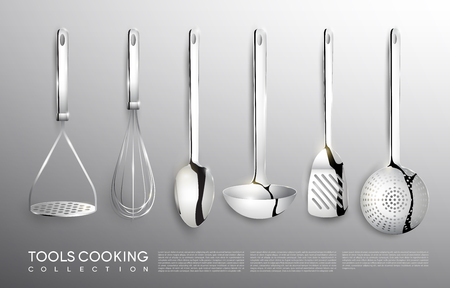 Realistic Kitchen Silver Cooking Tools Set Çizim