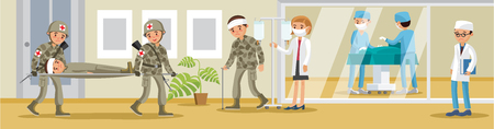 paciente en camilla: Hospital Militar Concepto