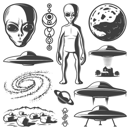 Vintage monochrome UFO Elemente Set Standard-Bild - 82856955