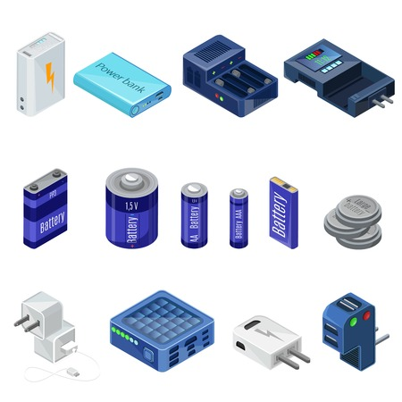 Isometric Chargers And Batteries Collection Stock Photo