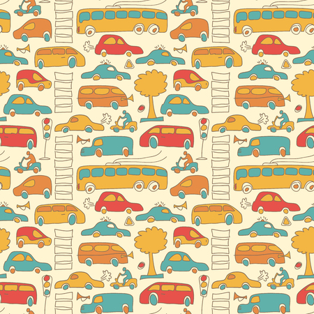 Seamless Transport Colored Pattern Illustration