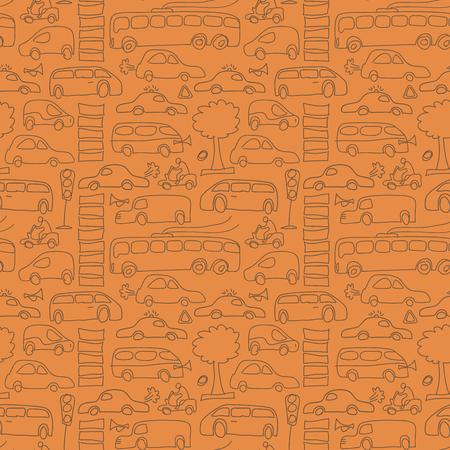 シームレスな描画トランスポート パターン  イラスト・ベクター素材