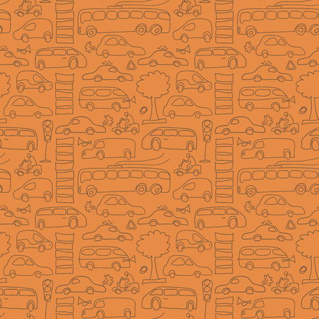 Seamless Drawn Transport Pattern
