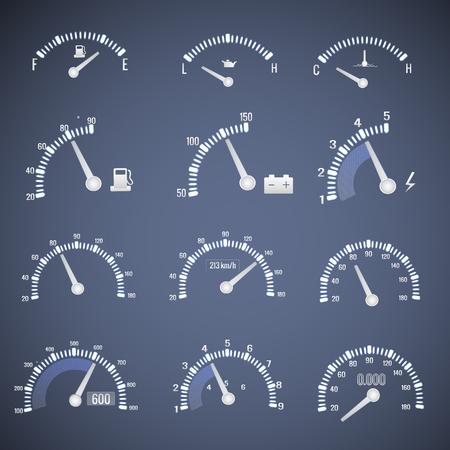 Conjunto de ícones de interface de velocímetro branco Foto de archivo - 82830517