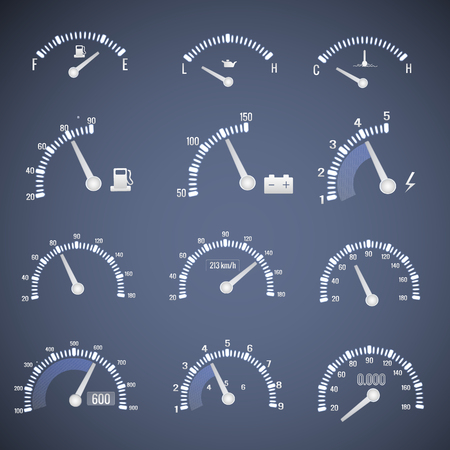 White Speedometer Interface Icon Set