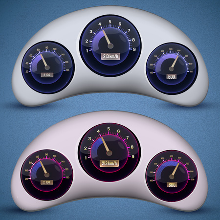 Speedometer Interface Icon Set Illustration