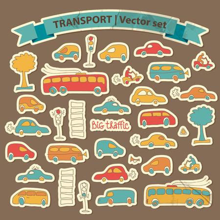 Vervoer Doodle pictogrammenset met geïsoleerde cartoon bomen bomen motos en verkeerslicht vector illustratie