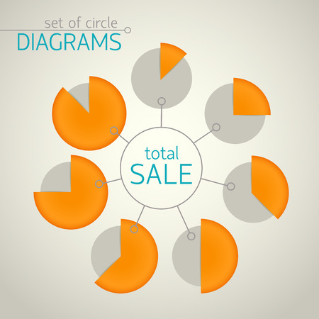 Pie chart templates plased around the circle with with the selection of different parts using orange color vector illustration