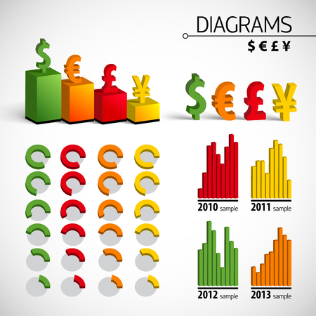Big Infographic Element Set With Colored Isolated Icons And Diagrams