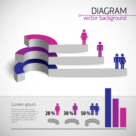 3 d 可視化のベクトル図にセックスと夫婦関係を示すビジネス ダイアグラム テンプレート