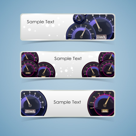 Three isolated isolated colored speedometer interface banner set with place for text vector illustration Illustration