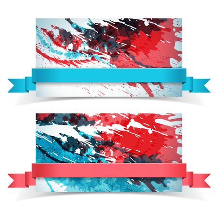 抽象的な塗料バナー セット