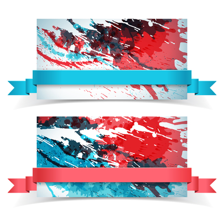 Abstract Paints Banner Set Illustration