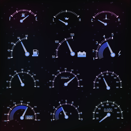 Dark Speedometer Interface Icon Set