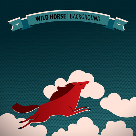 Wild horse poster with horse galloping through the clouds, the geometric blue background and ribbon on top vector illustration