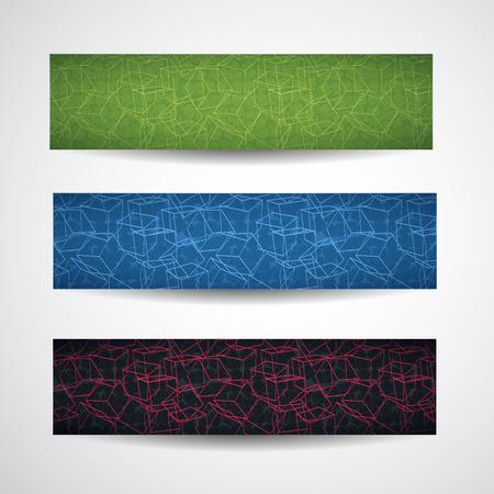 3 여러 가지 빛깔 된 가로 추상 입방 스타일 배너 선형 스타일 큐브 다른 도형 벡터 일러스트와 함께 설정