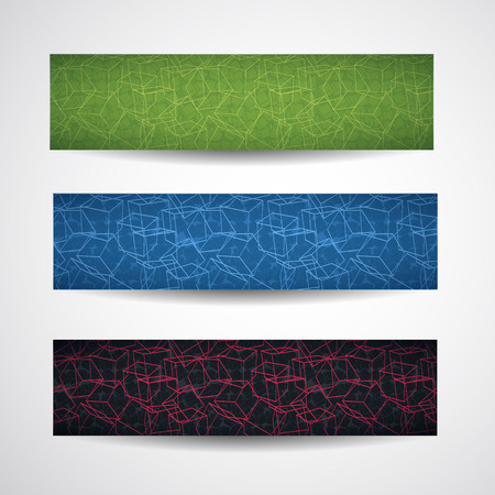 Three multicolored horizontal abstract cubic style banner set with linear style cubes different shapes vector illustration