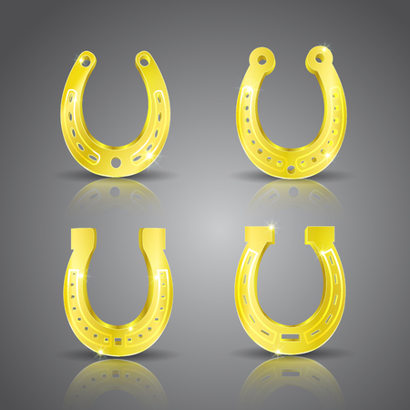 Gold realistic horseshoe icon set wirh specular reflection and shadow at the bottom vector illustration