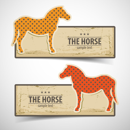 Colored Horse Design Banners Set Stock fotó - 82951716