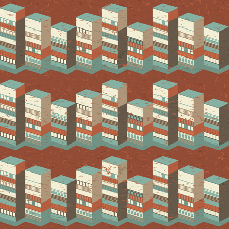 Architectural seamless pattern with 3d houses in warm colors on brown background vector illusration Illustration