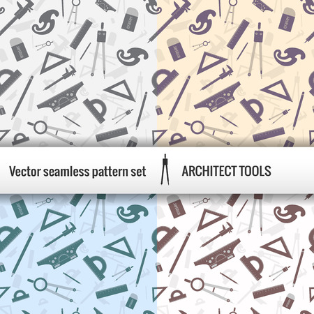 Architectural seamless pattern set with isolated tools for work and titile placed at the center vector illustration Illustration
