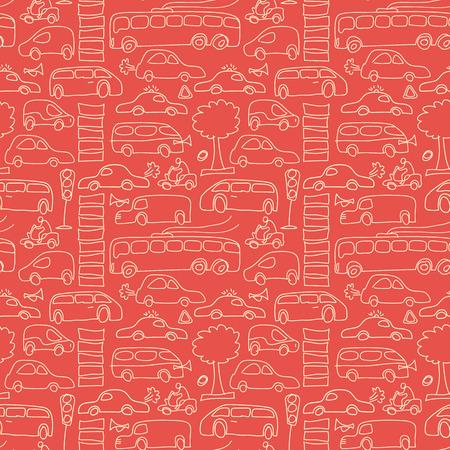 Naadloos vervoerpatroon met geïsoleerde lichtgele auto's en verschillend vervoer op rode dierbare vectorillustratie