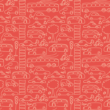 Seamless transport pattern with isolated light yellow cars and different transport on red fond vector illustration Çizim