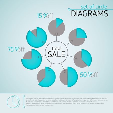 Blue business diagram template with text fields percentage ratio and title total sale vector illustration