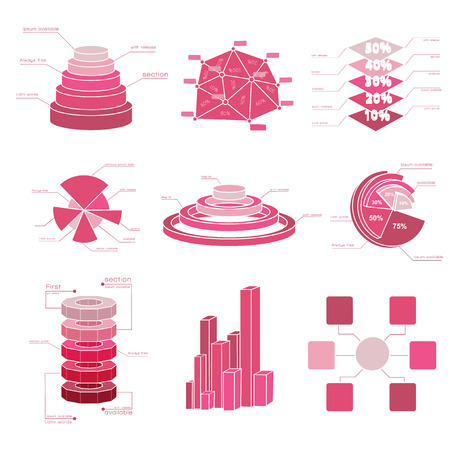 Big set of diagram elements with isolated several shades of red and different types charts vector illustration Ilustrace
