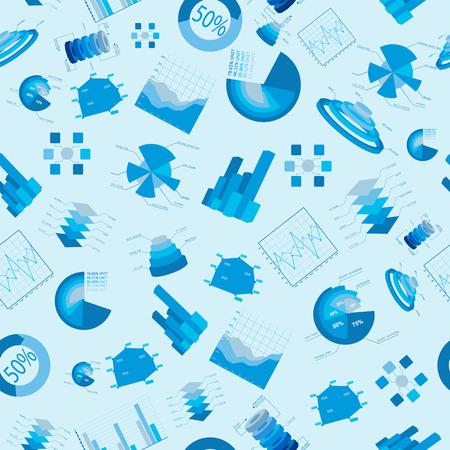 Blauwe bedrijfsgrafieken en diagrammen naadloos geklets met geïsoleerde gekleurde elementen op lichtblauwe backgeouns vectorillustratie Stock Illustratie