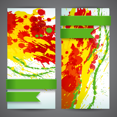 Abstract Artistic Colored Banner Set