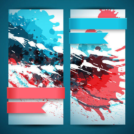 Two Abstract Artistic Banner Set. Illustration
