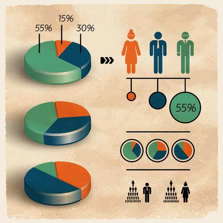 人口ビジネス ダイアグラム テンプレート。  イラスト・ベクター素材