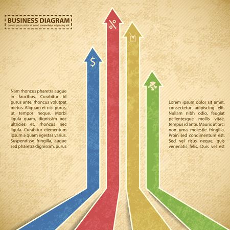 Bedrijfsdiagram Sjabloon Met Pijlen Stock Illustratie
