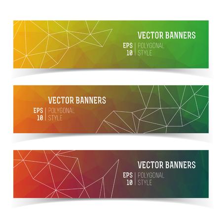 色とりどりの抽象的な三角形バナー セット。  イラスト・ベクター素材