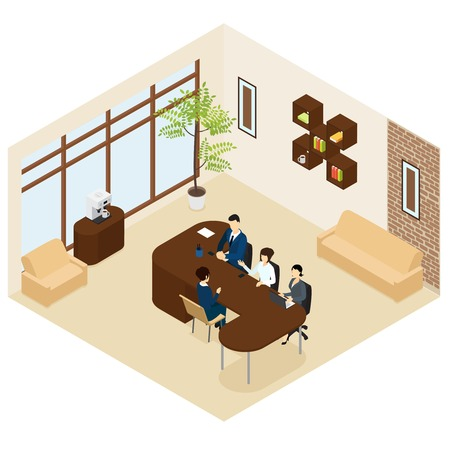Isometric business recruitment process template with group of people interviewing candidate in office isolated vector illustration Illustration