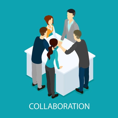 Isometric business partnership and collaboration template with people making teamwork hands connection at table isolated vector illustration