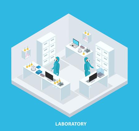 科学者の研究室分離ベクトル図で作業防護スーツを着ていると等尺性医学研究コンセプト  イラスト・ベクター素材