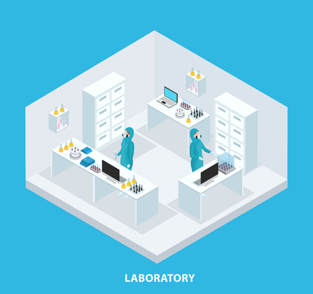 Isometric medical research concept with scientists wearing protective suits working in laboratory isolated vector illustration Reklamní fotografie - 83095739