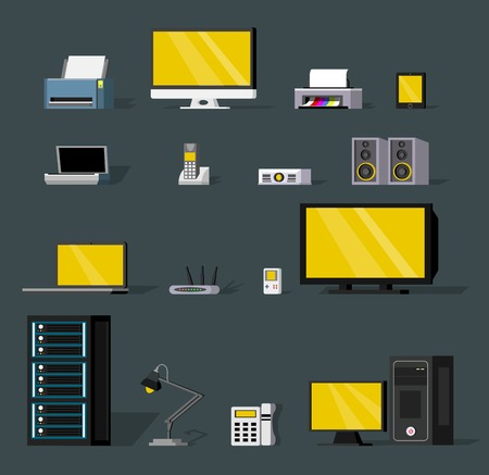 Colorful wireless technology objects set with modern electronic gadgets and devices isolated vector illustration
