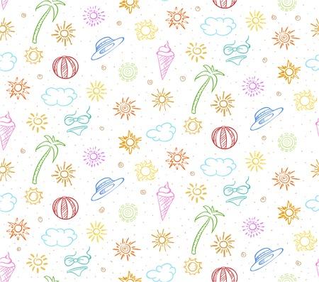 太陽ボール パーム ツリー帽子アイスクリーム ビキニ雲ベクトル イラスト落書きカラフルな夏の休暇シームレス パターン  イラスト・ベクター素材