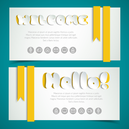 Salutatory Cards In Paper Style.