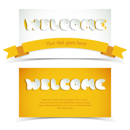 White And Yellow Welcome Paper Cards