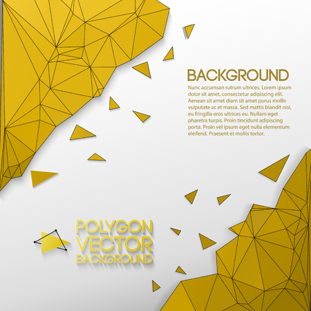 Abstract Background With Golden Polygons Иллюстрация