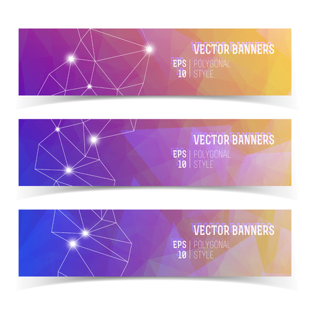 Abstract Banners With Constellation Of Lights