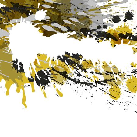 センターとベクトル図の周りの光のドットのホワイト スペースと黄色の抽象的な背景