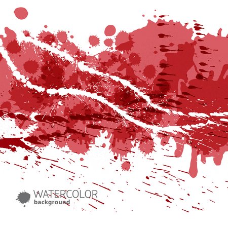 Red abstract background with stripes of white paint and splashes of red paint vector illustration Illustration