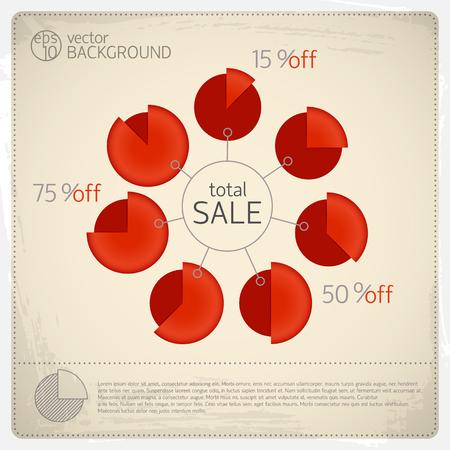 7 개의 빨간색 고립 된 다이어그램 및 큰 원 판매 총 벡터 일러스트 레이 션 주위 비율 비율로 설정하는 총 판매 다이어그램