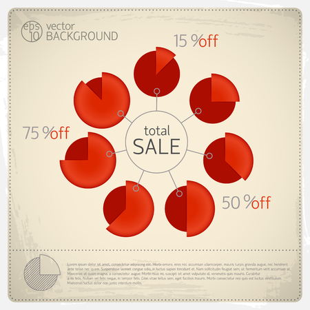 Totaal verkoopdiagram dat met zeven rood geïsoleerde diagrammen en percentageverhouding rond vectorillustratie van de grote cirkel de totale verkoop wordt geplaatst