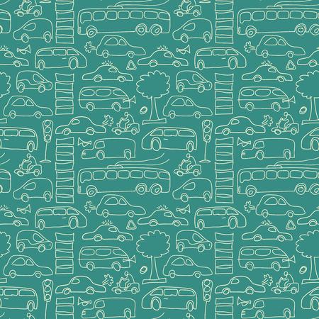Groen naadloos vervoerpatroon als achtergrond met motos van bomenauto's en anderen isoleerde de vectorillustratie van vervoerselementen Stock Illustratie